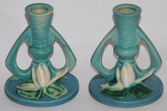 Roseville Pottery Water Lily Blue Candle Holders 1155 from Just Art Pottery