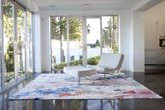 In partnership with Zoë Pawlak, Burritt Bros. Carpet & Floors is launching a line of graphic area rugs inspired by Pawlak's contemporary artwork. Interior Rugs, Interior Design, Living Room Decor, Living Spaces, Living Rooms, Ocean Rug, New Room, Beautiful Interiors, Home Decor Accessories