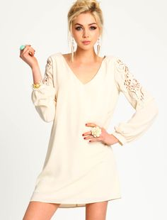 Crocheted Sleeve Shift Dress - Love Culture actually tried this on. regret not getting it lol