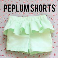 Peplum girl shorts sewing tutorial 12 to 18 months