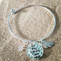 Graduation Gift!!  She Flies with Her Own Wings Bangle - Hand Painted