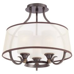 """Cast a warm glow in your dining room or foyer with this classic semi-flush mount, featuring a palladian bronze finish for traditional appeal. 16"""" diameter, Joss & Main"""