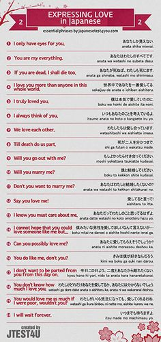 These are phrases you need to know when you want to express your love to someone in Japanese. If you are dead, I shall die too. あなたが死ねば、わたしも死にます. anata ga