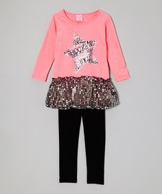 Take a look at this Peach Sparkle Skirted Tunic & Black Leggings - Toddler & Girls on zulily today!