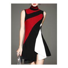 Multicolor A-line Sleeveless Turtleneck Mini Dress Red Ruffle Dress, Red Sleeveless Dress, Frilly Dresses, Dress Red, Ruffled Dresses, Sewing Clothes Women, Europe Fashion, Dress Brands, Eminem