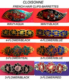 New Handpainted Cloisonne Floral French Hair Clip Hair Barrettes | eBay