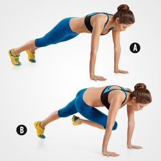 Assume a pushup position with your arms completely straight. Your body should form a straight line from your shoulders to your ankles (A). Lift your right knee toward your left elbow (B), lower, then raise your left knee toward your right elbow. That's one rep.