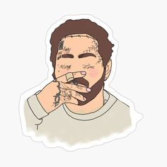 Red Bubble Stickers, Cool Stickers, Printable Stickers, Small Canvas Art, Easy Canvas Painting, Arte Do Hip Hop, Post Malone Wallpaper, Face Outline, Homemade Stickers