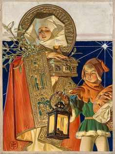 Leyendecker, The Saturday Evening Post, Medieval Merry Christmas, Dec. Oil on canvas. Art And Illustration, American Illustration, Illustrations, Norman Rockwell, Jc Leyendecker, Wow Art, Goblin, Traditional Art, Oeuvre D'art