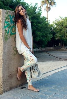 @roressclothes clothing ideas #women fashion Best Combination Ideas about Floral Pants: Fresh White