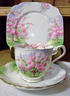 Royal Albert Blossom Time 3 Piece Cottage by Semellebescottage, ✿ pinned by Colette's Cottage ✿