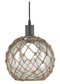 Drawing from nautical inspiration, the Currey & Company Fairwater large pendant makes a classic dining room or kitchen accent. This light fixture's clear glass globe features a natural abaca rope accent for rustic coastal style. Diameter x ; Nautical Lighting, Coastal Lighting, Nautical Ceiling Light, Nautical Lamps, Nautical Interior, Nautical Rope, Coastal Style, Coastal Decor, Coastal Bedding