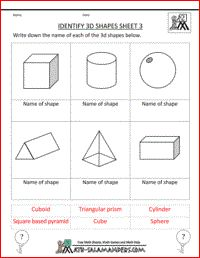 Identify 3D Shapes, printable geometry worksheets for 2nd graders