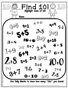 Freebie worksheet!  Find combinations of ten! (Addition)Finally a full version packet is available here for numbers 1-10.  Addition and Subtraction are included here:Practice Makes Perfect: Highlight Sums and Differences to 10If you like this, please check out the following Practice Makes Perfect Packets: Practice Makes Perfect: Balancing EquationsPractice Makes Perfect: Addition & Subtraction WorksheetsPractice Makes Perfect: Names for NumbersPractice Makes Perfect: Their, There, They'r...