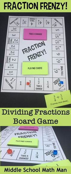 Fraction Frenzy is a math board game to help students practice dividing fractions and mixed numbers. Students solve fraction division problems in order to move around the game board. Great for math centers!