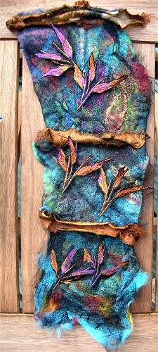 Planting theme Gallery Embellisher Maggie grey A piece of textile, using different types of media. Textile Fiber Art, Textile Artists, Nuno Felting, Needle Felting, Creative Textiles, Textiles Techniques, Felt Art, Fabric Art, Wearable Art