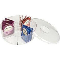 Ksp Steeped Acrylic Tea Box 6 Compartments 20 Cm Dia. X 8 Cm H Clear | Kitchen Stuff Plus