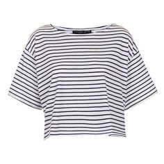 Topshop 'Bretton' Stripe Crop Tee (Petite) Navy Blue 2P (€27) ❤ liked on Polyvore featuring tops, t-shirts, shirts, crop tops, navy blue shirt, striped sailor shirt, tee-shirt, petite t shirts and oversized t shirt