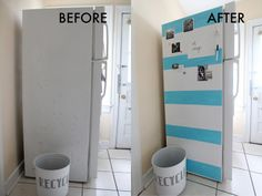 We Can Make Anything: Life Hack // Fridge Makeover  love this-- and it was just done with contact paper and paint!