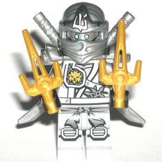 LEGO NINJAGO ZANE ZUKIN MINIFIGURE Authentic Titanium Dragon Silver Ninja 70748 #LEGO