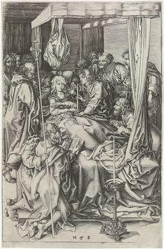 Martin Schongauer | De dood van Maria, Martin Schongauer, 1470 - 1490 | Maria ligt in een groot hemelbed, omringd door de twaalf apostelen. Op de voorgrond een kaars op een grote standaard.