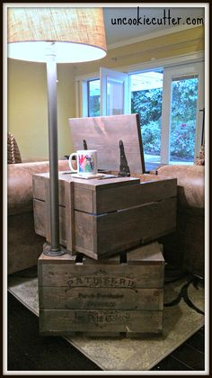 DIY Crate End Table With Storage And Built In Lamp   Http://uncookiecutter