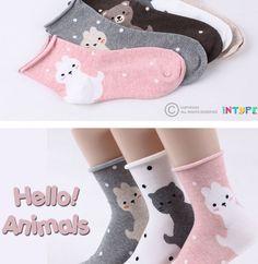 4778a2814c Hello Animals 5pairs cute rabbit cat bear print socks  women cute socks  Women