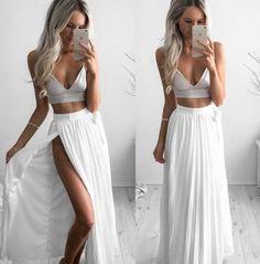 Sexy White Two Piece Chiffon Prom Party Dress,Split at lower part of dress,Glamorous dress