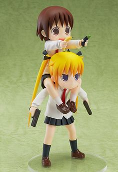 Yasuna and Sonya, the inseparable duo of the anime Kill Me Baby, have inspired this humorous and impressive figure that stands nearly 8 inches tall! Dressed in their school uniforms, assassin Sonya is posed ready to take out her target, and Yasuna...well she's just having fun being with Sonya! It's probably good that she is only holding a banana and eggplant in her hands. There aren't many figures...