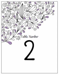 Table Number Cards.  Printable Wedding Invitations Paisley Ashley Suite: Purple and Black