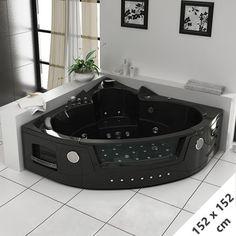 Venez découvrir la baignoire balnéo double d'angle Manhattan dans notre boutique en ligne spécialiste de la salle de bain: Salledebain.com
