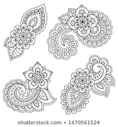 Indian style 788692953478428222 - Set of Mehndi flower pattern for Henna drawing and tattoo. Decoration in ethnic oriental, Indian style. Floral Embroidery Patterns, Henna Patterns, Zentangle Patterns, Flower Patterns, Henna Drawings, Art Drawings Sketches, Easy Drawings, Mandala Design, Kamera Tattoos