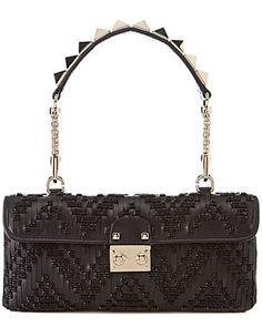 Valentino Embellished Leather Rockstud Strap Clutch