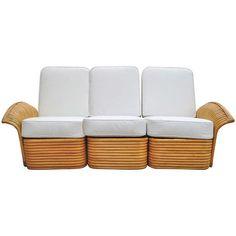 Art Deco Rattan Fan Arm 3 Seat Sofa, RARE