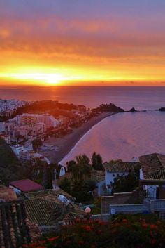 Almuñécar Spain sunrise.  A beautiful small town on the Mediterranean Sea in southern Spain.  There is so much to do and see, with nature all around.   Read more on http://Almunecarinfo.com