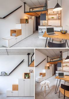 This Small Apartment Has A Loft Bed Suspended From The Ceiling Standard Studio have designed the Hermes City Plaza Student Housing in Rotterdam, The Netherlands, that were inspired by the tiny house movement. Modern Small Apartment Design, Modern Tiny House, Small Room Design, Tiny House Design, Small Apartments, Loft Spaces, Small Spaces, Staircase Storage, Stair Storage