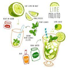 #lime #mojito #recipe #illustration for a #rainy day like this . . 민트잎 동동띄운 상큼한 #라임 #모히또 로 이 끈적끈적한 축축함을 날려버리고 싶어요 . . .
