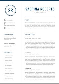 Resume Templates and Resume Examples - Resume Tips One Page Resume Template, Modern Resume Template, Creative Resume Templates, Cv Template, Creative Cv, Cover Letter For Resume, Cover Letter Template, Letter Templates, Templates Free