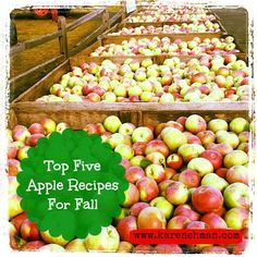 Top five apple recipes for fall. Perfect for teachers, neighbors and your family. YUM!!!