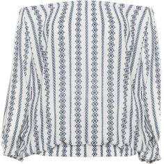 Zizzi Cream / Blue Plus Size Printed off the shoulder top (1.470.600 VND) ❤ liked on Polyvore featuring tops, cream, plus size, cream top, ruched tops, round top, womens plus tops and stripe top