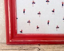 Elegant eco friendly magnetic board up cycled frame covered women dancing in the navy fabric bedroom office planning organization wall decor