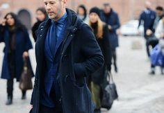 Monochrome, blue, denim shirt, tie, plaid blazer, toggle duffle coat