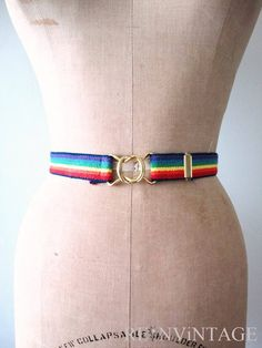 * Rainbow tripe Stretchy Belt with Gold Metal Buckles *
