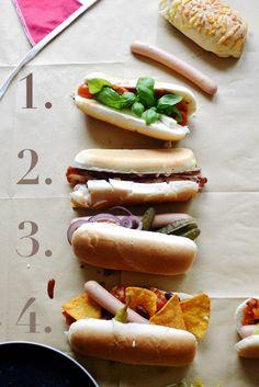 Skład: 1. bułka+ parówka+ pomidorki koktajlowe+ feta+ świeża bazylia 2. bułka+ parówka+ smażony boczek+ kukurydza+ ser żółty Hochland Cheddar+ prażona cebulka 3.bułka+ parówka+ ketchup pikantny+ ogórek konserwowy+ czerwona cebula 4.bułka+ parówka+salsa (przepis poniżej) + nachos+ czerwona fasola+ zielone papryczki chili 5.bułka+ parówka+ guacamole+ kiełki rzodkiewki+ pomidorki koktajlowe z oliwą z oliwek  Przepis na salsę (na 3-4 hot-dogi) Skład: 3-4 czerwone pomidory /2-3 ząbki czosnku…