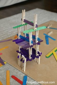 Five Engineering Challenges with Clothespins, Binder Clips, and Craft Sticks - Frugal Fun For Boys