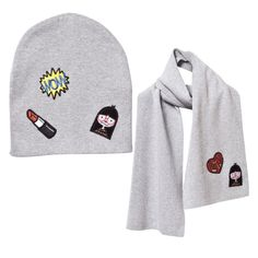 27c57644343 Little Marc Jacobs Girls Knitted Hat   Scarf Set With Patches