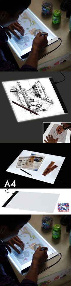 Adaptable Original Digital Tablets A4 Led Graphic Artist Thin Art Stencil Drawing Board Light Box Tracing Table Pad Three-level For Copy Office & School Supplies