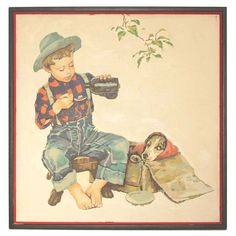 Vintage 1950's Paint by Number Norman Rockwell Boy & His Dog Spring #PaintByNumber