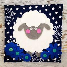 Handgemaakt schilderijtje van stof voor op de kinderkamer