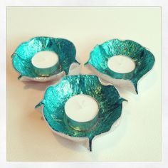 Recycled CD Tea Light Holder. Set of Three by FancyTatCrafts